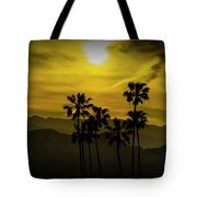 Palm Trees At Sunset With Mountains In California Tote Bag