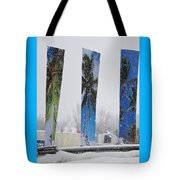 Palm Trees In Snowstorm Tote Bag