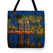 Palm Trees On The Water Tote Bag