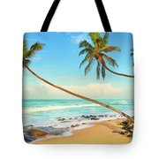Palm Trees Over The Sea Tote Bag