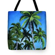 Palm Trees Under A Blue Sky Tote Bag