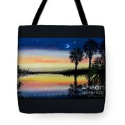 Palmetto Tree And Moon Low Country Sunset Tote Bag