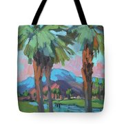 Palms And Coral Mountain Tote Bag