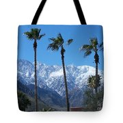 Palms With Snow Tote Bag