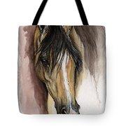 Palomino Arabian Horse Watercolor Portrait Tote Bag