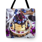 Pancakes With Chocolate Sauce Tote Bag