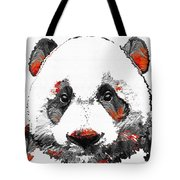 Panda Bear Art - Black White Red - By Sharon Cummings Tote Bag
