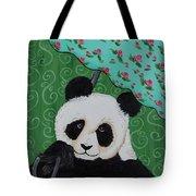 Panda In The Rain Tote Bag