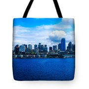 Pano Of Downtown Seatle Tote Bag