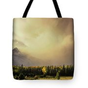 Panorama Clearing Storm Over The Grand Tetons Tote Bag