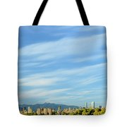 Blue Sky Over Vancouver City Skyline. Tote Bag