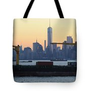 Panorama New York City Skyline With Passing Container Ship Tote Bag