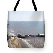 Panorama Of Blackpool Beach Tote Bag