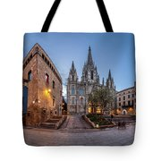 Panorama Of Cathedral Of The Holy Cross And Saint Eulalia In The Tote Bag