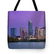 Panorama Of Downtown Austin Skyline From The Lady Bird Lake Boardwalk Trail - Texas Hill Country Tote Bag
