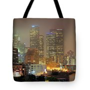 Panorama Of Downtown Los Angeles In The Fog Tote Bag