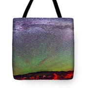 Panorama Of Milky Way Above The Table Tote Bag