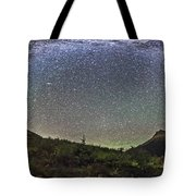 Panorama Of Milky Way Over Red Rock Tote Bag
