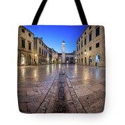 Panorama Of Stradun Street And Luza Square In Dubrovnik, Dalmati Tote Bag