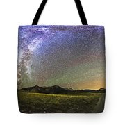 Panorama Of The Milky Way And Night Sky Tote Bag