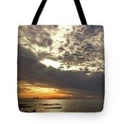 Panorama Of The Sunset In Caesarea Tote Bag