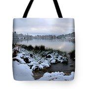 Panorama Of Winter Lake Tote Bag