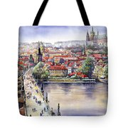 Panorama With Vltava River Charles Bridge And Prague Castle St Vit Tote Bag