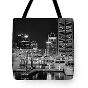 Panoramic Baltimore In Black And White Tote Bag