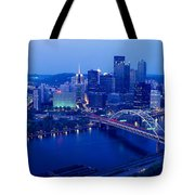 Panoramic Evening View Of Pittsburgh Tote Bag