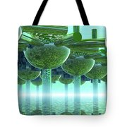 Panoramic Green City And Alien Or Future Human Tote Bag