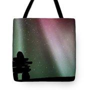 Panoramic Inukshuk Northern Lights Tote Bag