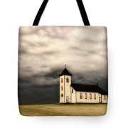 Panoramic Lightning Storm And Prairie Church Tote Bag