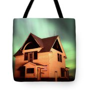 Panoramic Prairie Northern Lights And House Tote Bag