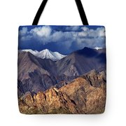 Panoramic Rocky Landscape Of Leh City Ladakh Jammu And Kashmir India Tote Bag