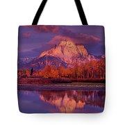 Panoramic Sunrise Oxbow Bend Grand Tetons National Park Tote Bag