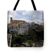 panoramic town 1  - Panorama of Mahon Menorca with old town and harbour Tote Bag