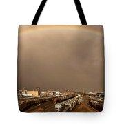 Panoramic Train Yard Storm Tote Bag