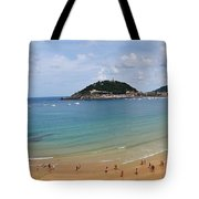Panoramic View Of Beautiful Beach, San Sebastian, Spain  Tote Bag