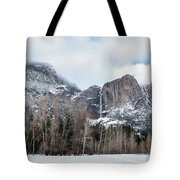 Panoramic View Of Snowed Peaks In Yosemite Park With Snow On The Tote Bag