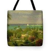 Panoramic View Of The Harbour At Nassau In The Bahamas Tote Bag by Albert Bierstadt