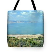 Panoramic View Of The Sea Of Galilee Tote Bag