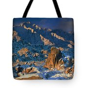 Panoramic Winter In The Alabama Hills Eastern Sierras California Tote Bag