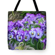 Pansey Flowers And Swirls  Tote Bag