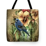 Pansies And Bluebird Tote Bag