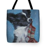 Papillon Puppy With Xmas Stocking Tote Bag