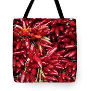 Paprika Peppers At A Market Stall. Tote Bag