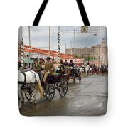 Parade Of Horse Drawn Carriages On Antonio Bienvenida Street Wit Tote Bag