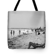 Paradise Beach In Black And White Tote Bag