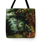 Paradise Scene With Adam And Eve Tote Bag