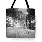Paramount Snowstorm Boston Ma Washington Street Black And White Tote Bag